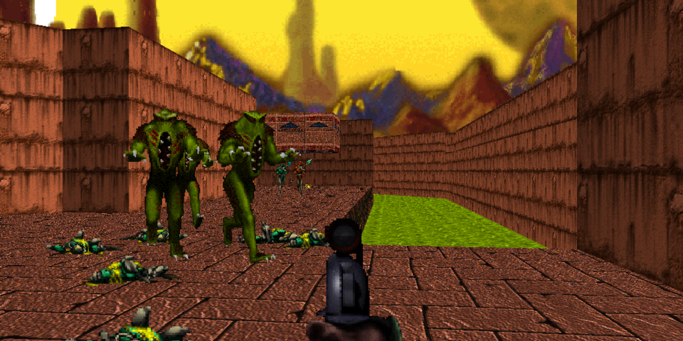 Outdoor environs and large pools of water (or sewage) are far more common in Marathon 2.