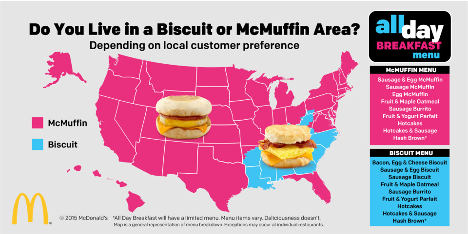 Unsurprisingly, the Southeast (excluding Florida and most of Virginia) have biscuits only.