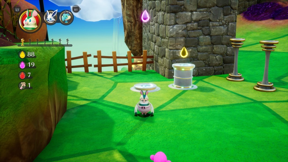 This is a simple stomping puzzle. The pig costume can butt bash certain pillars down, which sends another pillar up. Pretty standard 3D platformer stuff that's been around forever.