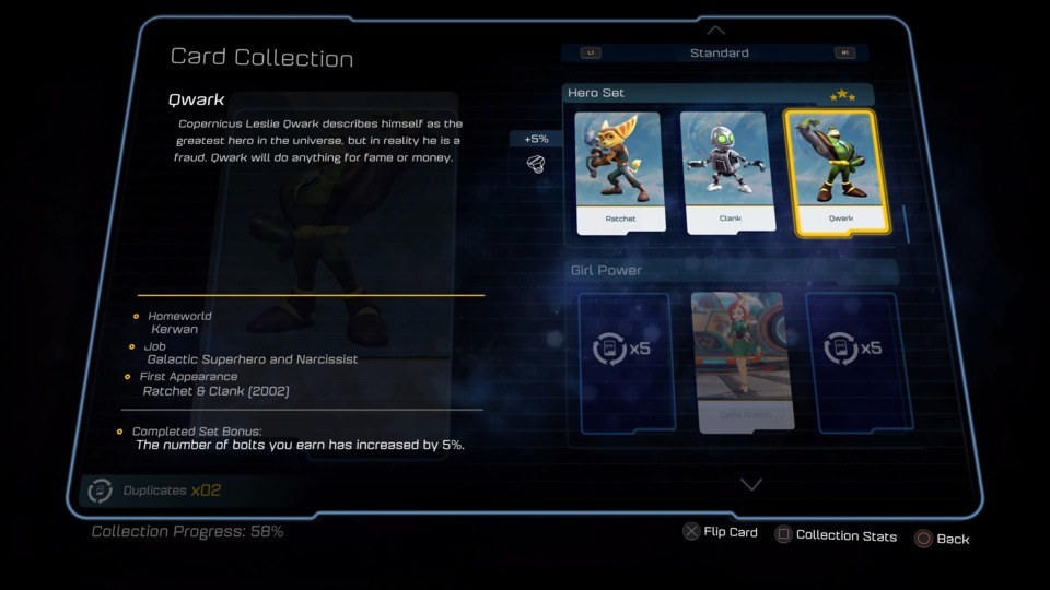 This is what Ratchet & Clank lore looks like. One sentence and a few bullet points. Collecting three cards in a set gives you a gameplay bonus because the game likes you and wants you to have nice things.