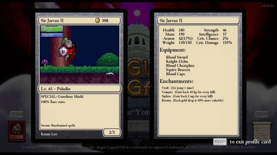 Yo, this game is ADDICTING. It's mechanics of giving you short bursts of success, slowly progressing further and further with each try is a masterful way of rewarding the player but also hindering him/her from completing the game too quickly. I kinda wish there was more differentiation between the weapons and armour, but I still haven't seen any of the late-game tier stuff so I could be pleasantly surprised. Needless to say, I'm looking forward to playing more.