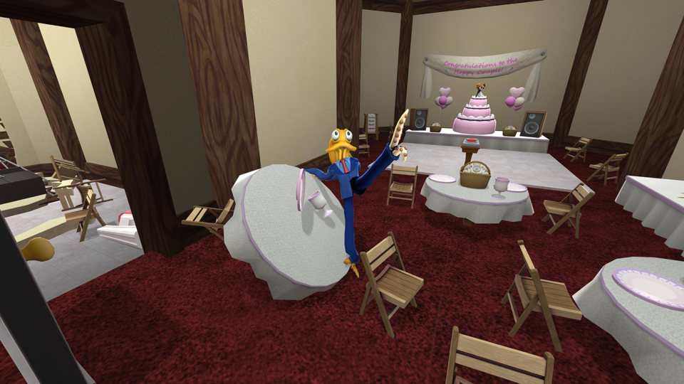 It is extremely difficult to get Octodad to do much of anything without wrecking most of the objects in your vicinity, but then, that's the point.