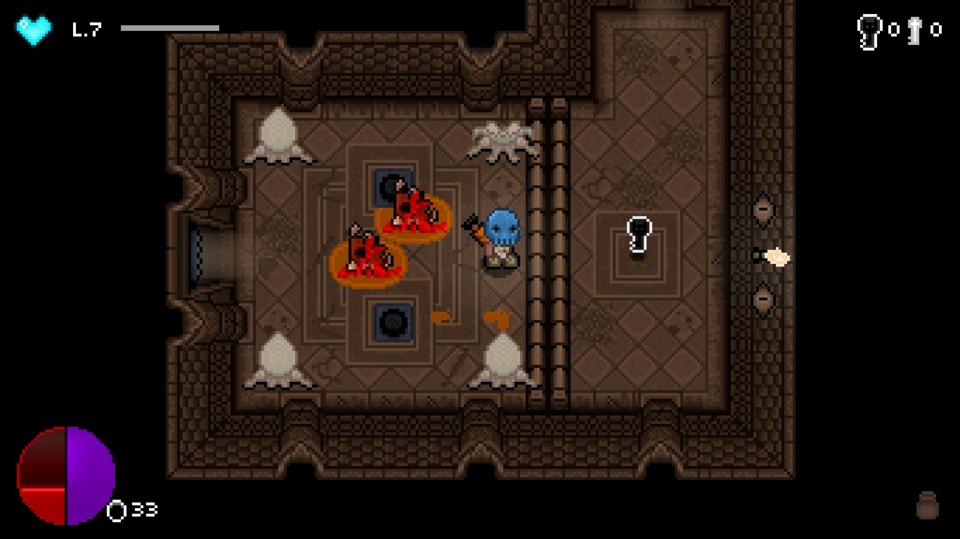 Dungeons have switches, puzzles and keys, though I'm not sure how much of it is procedurally generated or if the game just generates the dungeons from a bunch of possible pre-built variations.
