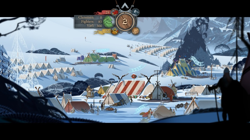 You can bring up this little camping screen whenever, allowing you to practice combat or customize characters. I sometimes like to take a break so I can read more of the map's lore.