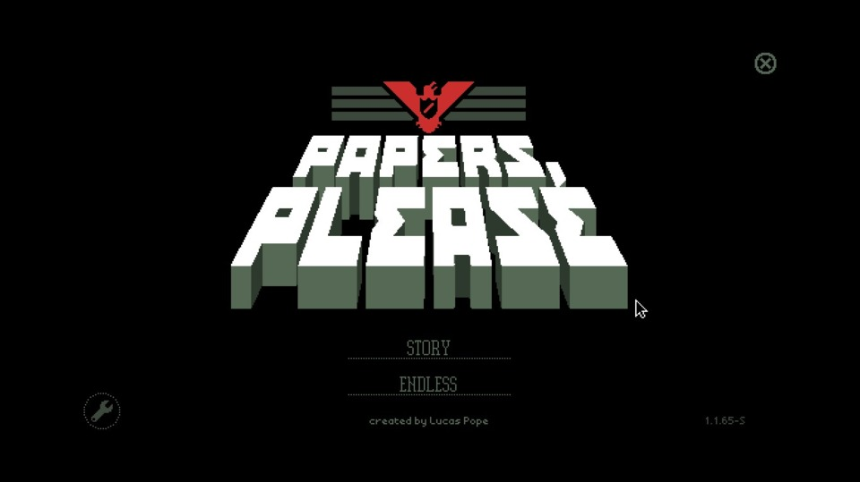 Welcome to Papers, Please. This logo slowly marched up the screen, like the indefatigable march of Arstotzka and its hardy citizenry.