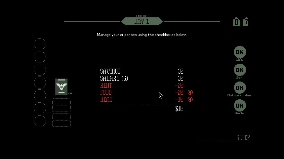After a busy day of bureaucracy, I return home to spend what little I have earned on heating the tiny government-issued apartment and feeding my family. Soon it will be one or the other. Arstotzka will provide.