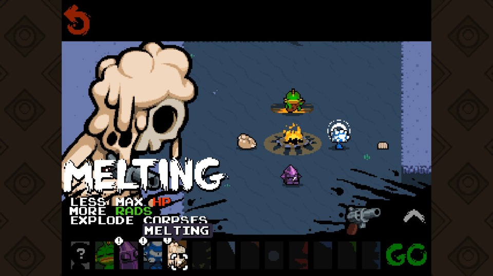 Reaching the sewers automatically unlocked melty skeleton and eyebeast. Along with fishman and crystalline entity, that makes four choices for who to bring into my next adventure. Geez, I'm spoiled for choice, however wil- I'm going fishman again.