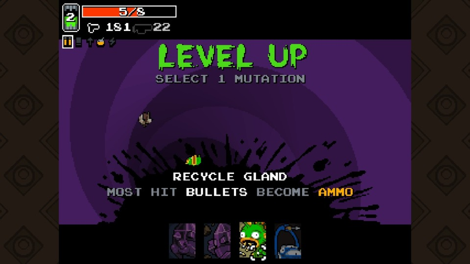 I like that each power-up appears to be associated to a specific character. Either it's just the art team having fun, or it's a hint that certain power-ups work better with certain characters and their starting abilities. The fishman starts with a boost to the maximum amount of ammo they can hold, and this is another ammo-saving power.