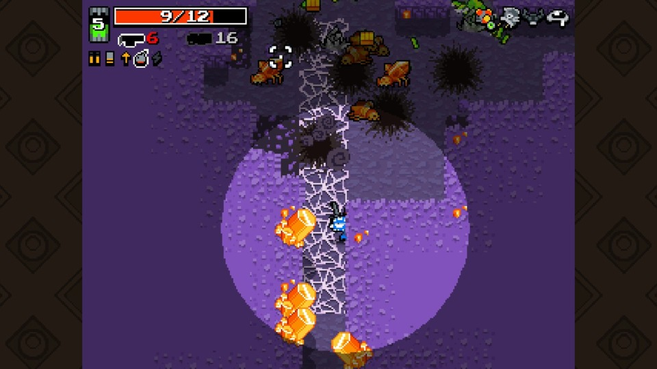The next mini-area is filled with crystal monsters. They're resistant to bullets, but fortunately I'm firing about ten at once. Ten bullets that also do flame damage over time too.