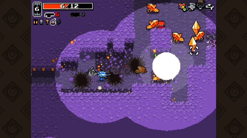 This area's actually kinda perilous. Stuff keeps exploding and those <> things will start sniping you from off-screen.