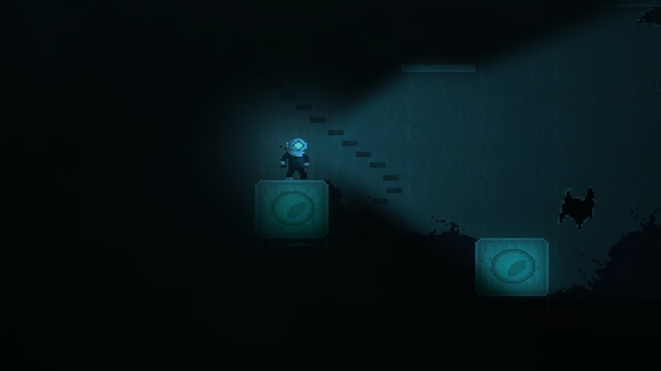 An example of a light-based puzzle. These blocks will only rise when the player's lamp is off, allowing them to reach new heights. However, when they're not floating, they can be pushed into opportune locations.