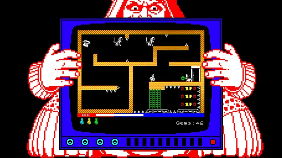 The Red Queen boss of Wonderland forces you to play through a series of Spectrum ZX-inspired games. She also constantly rocks the screen and puts her hand over important areas. It's disorienting enough being stuck in Manic Miner without her distractions.