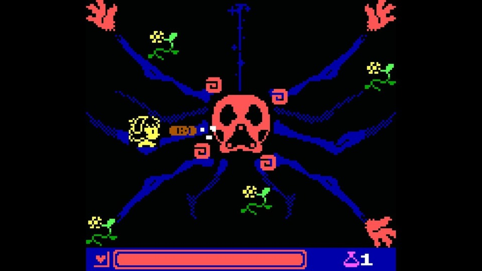 The first of the sequel's boss fights. A lot of these reminded me of classic shoot 'em up games. This one? Onslaught, a game I doubt anyone remembers.