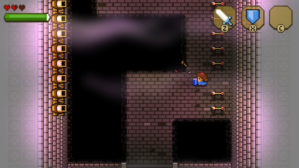 A standard A Link to the Past trap room, but a tricky one when you're so early in and only have three hearts to work with. Blossom Tales isn't exceptionally tough, but it doesn't pull its punches either.