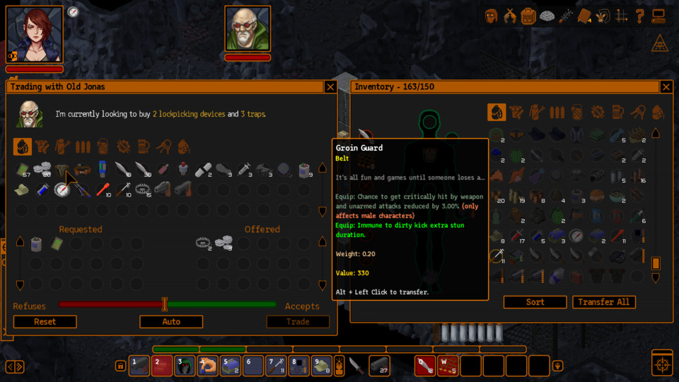 The game puts severe restrictions on trading: NPCs will only accept specific items, listed above their inventories. If I want to afford this groin guard - even though it's sorta redundant for my character (but also not really?) - I'm going to have to come back with what this old dude wants.