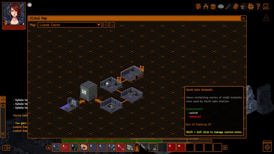 I'm generally a big fan of this dinky node-based mapping and its custom notes (the part about the two hackable boxes was added by yours truly), but it can be wildly insufficient sometimes. The building I'm in now is represented by a single block, despite having three floors full of traps, enemies, locked doors, and other points of interest.