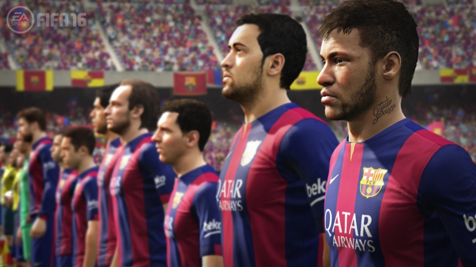 FIFA 16 looks incredible, with realistic models that are recognizable, individual blades of grass rendered, and even the spray from the ref's lines is visible.