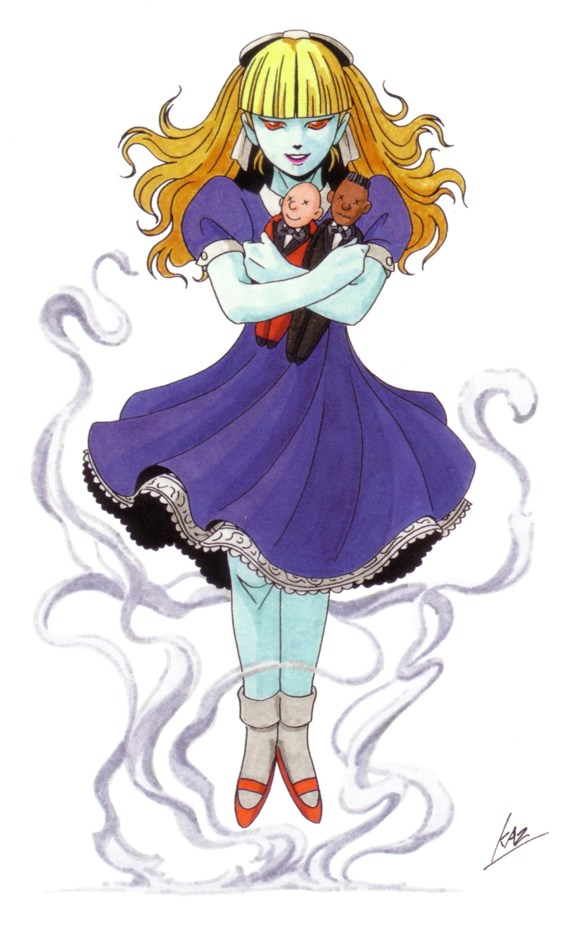 Alice from Shin Megami Tensei II, holding her dolls of the Baron in Black and the Count in Red.