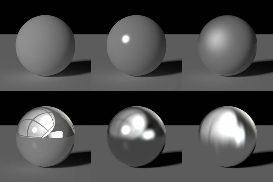 Some very basic shaders. Bottom middle is an example of reflections with roughness.