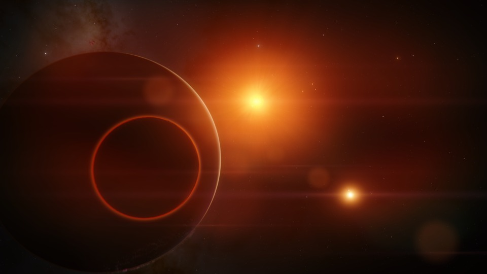 Found a really cool view of this red desert moon that is orbiting an ice giant in this binary star system. The dimmer star is actually about twice as large as the brighter one. Just very far away.