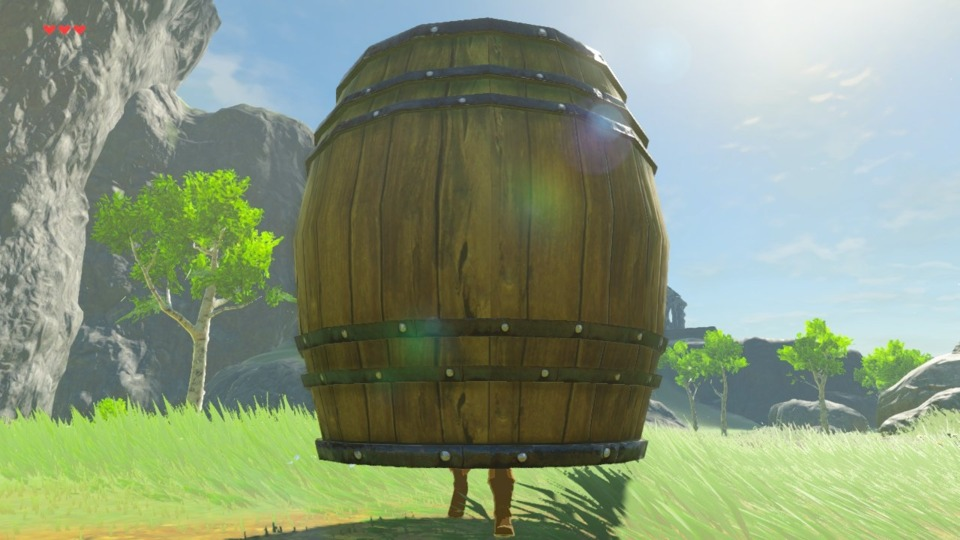 You can hide in the big barrels, but the enemies saw through my disguise fairly quickly.