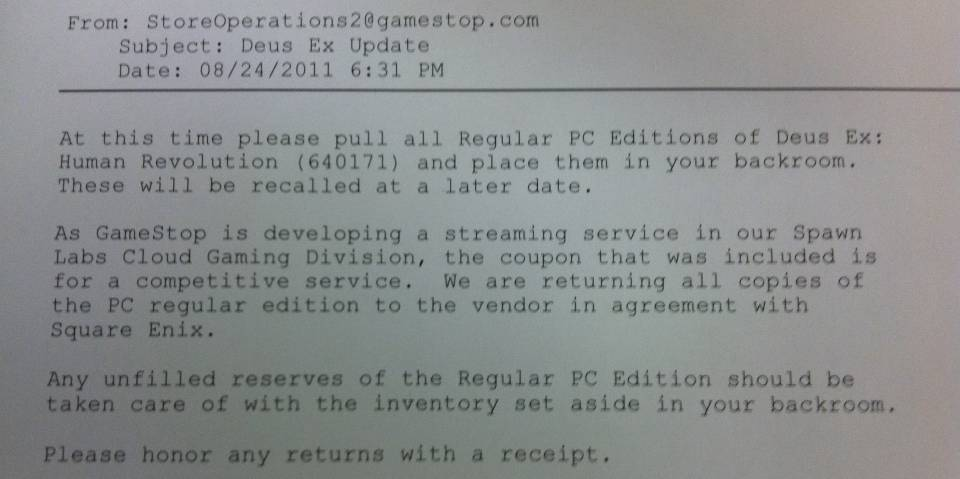 An internal GameStop email with corporate instructions forwarded by an employee this afternoon.