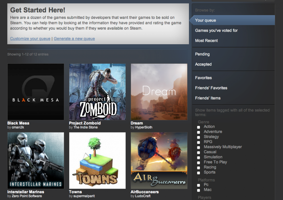 Here's how Greenlight look on my Steam client, as Valve tries to push the good stuff to the top.