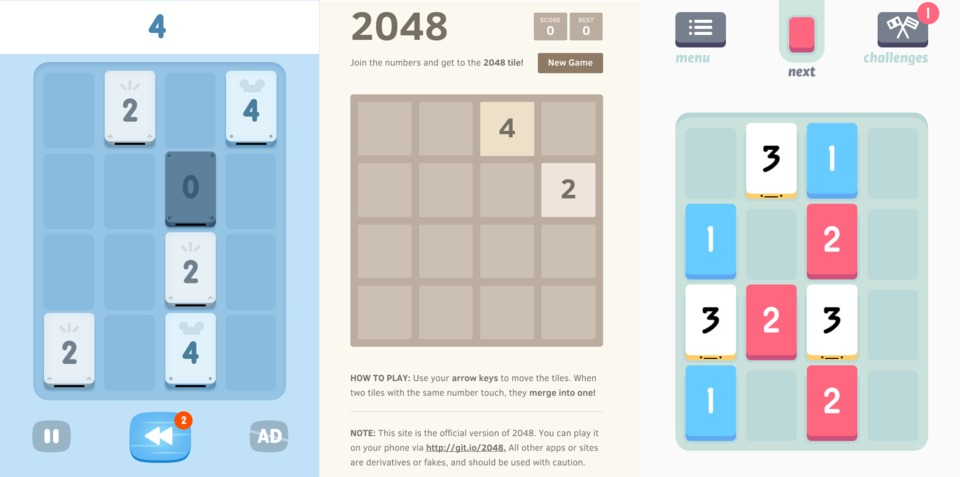 A clone of a clone of a clone. This is a comparison of 1024, Cirulli's 2048, and Threes.