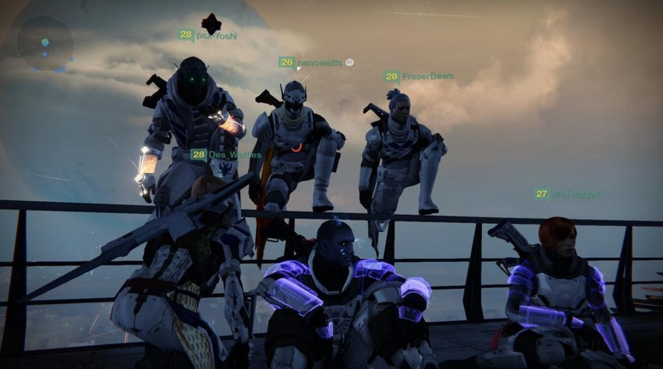 The team relaxes in The Tower after a job well done.
