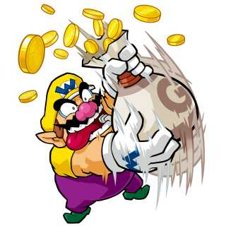 Wario shaking a bag of coins