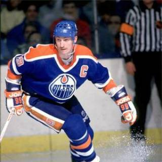 Wayne Gretzky as captain of the Edmonton Oilers in the mid-1980s.