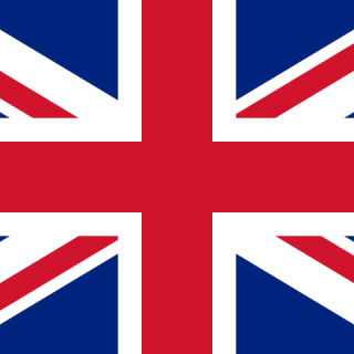Flag of Great Britain (UK). It consists of the red cross of Saint George (patron saint of England),