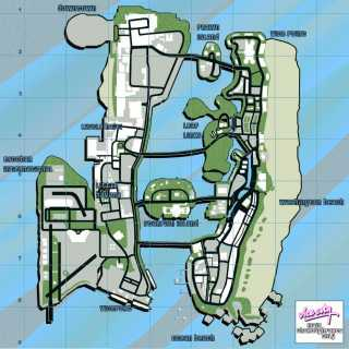 A map of Vice City, as seen in Grand Theft Auto: Vice City.