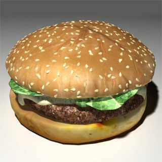 A totally sweet polygonal hamburger.