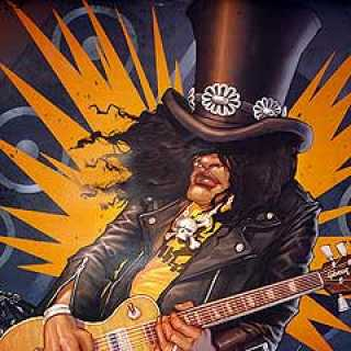 Slash, as seen on a promotional poster for Guitar Hero III.