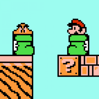 Mario and a Goomba face off in dueling Kuribo's Shoes.