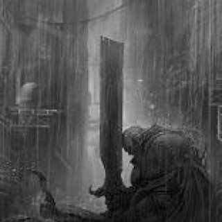 Some dude with a sword, sitting in the rain.