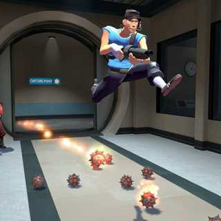Scout From Team Fortress 2 performing a double jump.