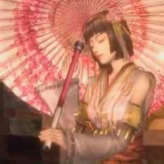 Okuni, as she appears in Samurai Warriors.