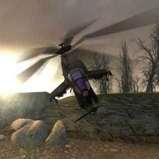 The helicopter boss in Half Life 2