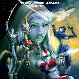 Saber Rider and the Star Sheriffs artwork meant to look like a movie poster.