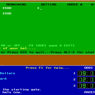 The betting interface.