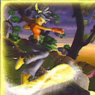 Kya riding a magic board